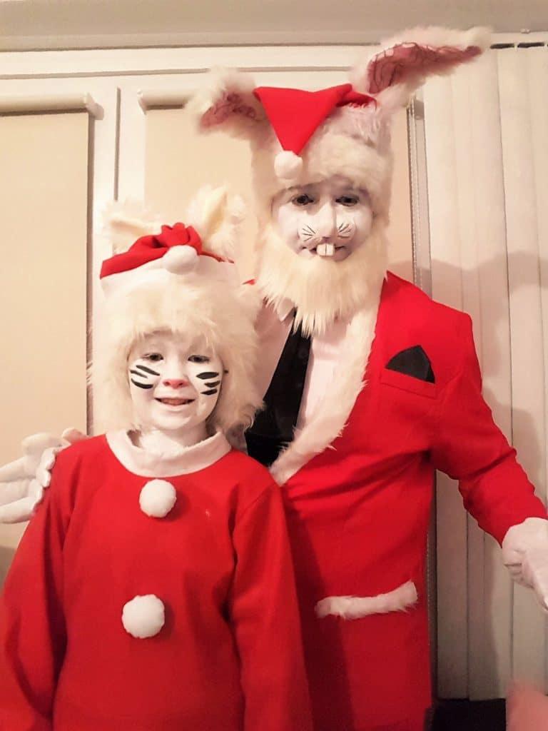 David and his daughter Aimee dressed as Santa Bunnies in 2016